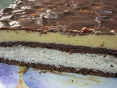 Nepečený kokosovo- čokoládový rez s vanilkovým krémom