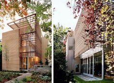 fachada linda vidro + madeira