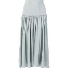 Chloé pleated midi skirt ($990) ❤ liked on Polyvore featuring skirts, blue, flounce skirt, elastic waist skirt, flouncy skirt, blue skirt and frilly skirt