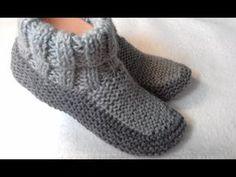 TUTO CHAUSSON TRESSE TORSADE AU TRICOT Booties knitting BOTITAS BOTAS TEJIDAS DOS AGUJAS - YouTube