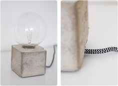 Concrete lamp - can't read the article - but the idea is there.