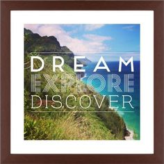 Dream Explore Discover Framed Print, Brown, Contemporary, Cream, White, Single piece, 16 x 16 inches, White