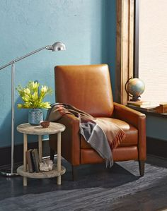 Classic darker teal and brown match perfectly with the brushed nickel floor lamp.