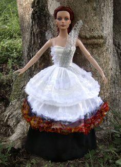 Katniss Everdeen Burning Wedding/Mockingjay Dress for Tonner Dolls - by Morgan May @ Stardust Dolls - http://www.stardustdolls.com