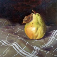 """Pear with White Stripes"" - Original Fine Art for Sale - © Kathleen Williford"