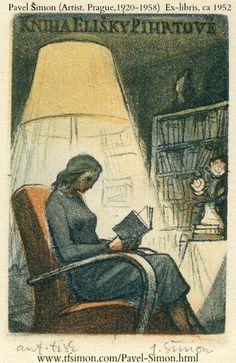"Ex Libris by Pavel Šimon (Prague, Czechoslovakia, 1920-1958). For ""Kniha Elisky Pihrtové""  Artist's proof. Circa 1952"
