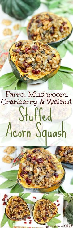 Vegan / Vegetarian Stuffed Acorn Squash recipe. A healthy holiday or Thanksgiving main courses filled with farro, mushroom, dried cranberries and walnut. Low carb, clean eating fall food! Perfect main dish for a vegan Thanksgiving. / Running in a Skirt