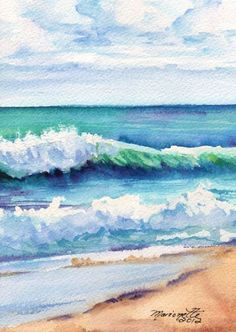 Ocean Waves of Kauai I Art Print from Kauai Hawaii teal turquoise blue sand . Ocean Waves of K Kauai Hawaii, Blue Hawaii, Art Watercolor, Watercolor Landscape, Simple Watercolor, Watercolor Techniques, Painting Techniques, Beginner Painting, Beginner Art