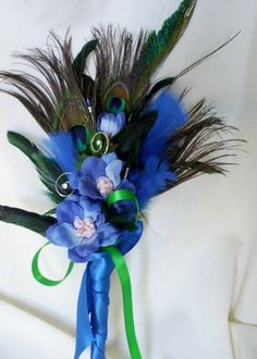 Peacock Wedding Bouquet Ideas | Peacock Feather Bouquet Royal Blue Peacock Weddings