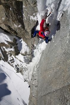 Steph on the crux pitch of the Super Couloir Direct route on Mt. Blanc du Tacul (photo by Jon Griffith)