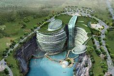 Impresionante hotel subterráneo y subacuático de China