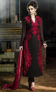 Black Colour Georgette Designer Salwar Kameez Buy Apparel