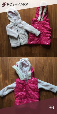Toddler girls fall winter jackets Light pink bear ears fleece hooded jacket and dark pink puffer vest. Both EUC, smoke and pet free home. Can be used separately or worn together. Good staple jackets for the fall and winter. Both sizes 18 months and true to size. Thanks <33 Carter's Other