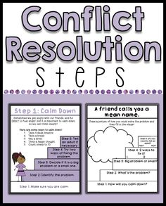 Students having trouble solving their own problems? Includes 5 posters of the steps of conflict resolution, as well as 5 conflict resolution role play worksheets. Posters have B&W and color versions!