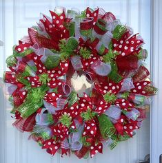 Red Green and White Whimsical Curly Mesh Christmas Wreath on Etsy, $75.00