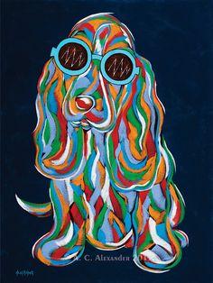 Irresistible Cuteness Abstract Dog Art Print Dog Wearing Sunglasses on Etsy, $25.00 #dog #art #bassethound