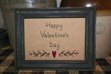 Happy Valentine's Day Primitive Picture Gift Idea Stitchery Decor Heart UNFRAMED