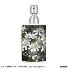 Star of Bethlehem Flowers Photo Soap Dispenser & Toothbrush Holder