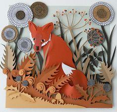 Big Little Fox, paper art made by Helen Musselwhite