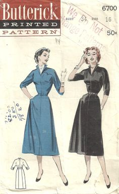 Butterick 6700 Vintage 50s Sewing Pattern Dress Size 16