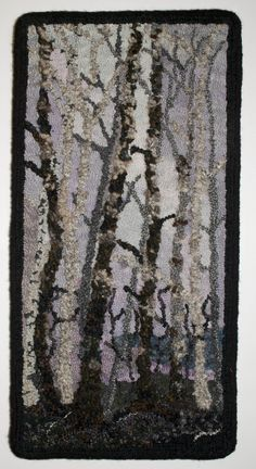 Trees by Diane Clapp Trees by Diane Clapp - Colorful Toupee Hairs Rug Hooking Designs, Rug Hooking Patterns, Rya Rug, Rug Inspiration, Hand Hooked Rugs, Fabric Rug, Penny Rugs, Punch Needle, Tree Art