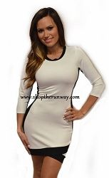 Rubber Ducky Ivory 3/4 sleeve dress with Black Contrast $65