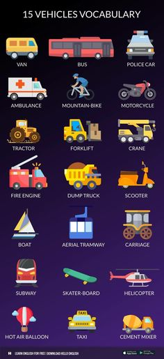15 Vehicles vocabulary
