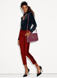 More WINE Fall Fashion: Our Style Goddess Necklace and Bracelet look great with our Push the Envelope Bag and Fit Right in Skinny Pants! #fashion #style http://ericagerlemann.avonrepresentative.com/