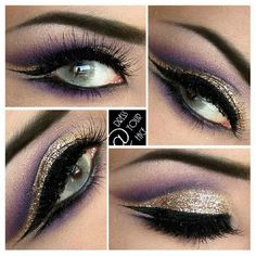 Cleopatra-esque look  1.) create cut crease with dark brown eyeliner (lancome le crayon in black coffee) and set with a deep purple shadow (Mac GRAPHOLOGY) and blend 2.) Add bright plum/purples in the crease (mix of Mac NOCTURNELLE & PARFAIT AMOUR) 3.) apply highlight (Mac NAKED LUNCH) on brow bone. Then fill the lid space with gold (Mac WOOD-WINKED) 4.) then apply a wet eyeliner sealant