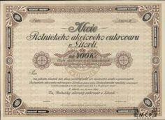 A1175 / Muzeum cennych papiru / Rolnický akciový cukrovar v Litovli akcie na majitele (Inhaberaktie) 400 Kč, Litovel 15.2.1920 / AZP3CZ145 Stocks And Bonds, Card Templates, Sugar, Cards, Coins, Paper Envelopes, Card Designs, Map, Playing Cards