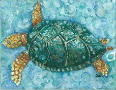 Aqua Sea Turtle Giclee Art - love the shades of blue....