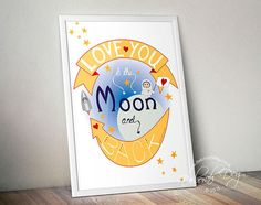 Love You to the Moon and Back A3, A4, art print, illustration, vector art, nursery, wall decor, children, spaceman,spaceship,stars