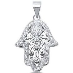 Sterling Silver Hamsa Pendant with CZ contour Sterling Silver Bracelets, Sterling Silver Pendants, Evil Eye Charm, Hamsa, Belly Button Rings, Fashion Jewelry, Charmed, Pendant Necklace, Contour