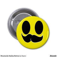 Moustache Smiley Button