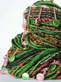 This yarn is wild--really inspiring handspun!  yarnmantra's RASIKA handspun yarn Ribbon Yarn, Fabric Beads, Spinning Yarn, Hand Spinning, Yarn Stash, Yarn Needle, Loom Knitting, Knitting Help, Knitting Ideas