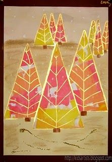 Colorful Christmas Trees from kidartists