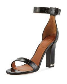 Givenchy Chain Crocodile-Embossed 105mm Sandal $795 S