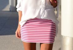 Pink & white striped mini skirt, ive got a few of these