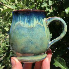 Amaco blue midnight x2 under x2 seaweed with ancient jasper around the rim