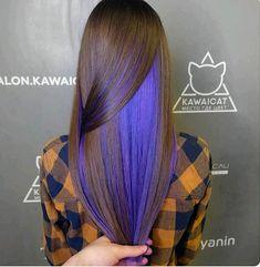 Under Hair Color, Hidden Hair Color, Cool Hair Color, Exotic Hair Color, Purple Brown Hair, Hair Dye Colors, Dye My Hair, Aesthetic Hair, Crazy Hair
