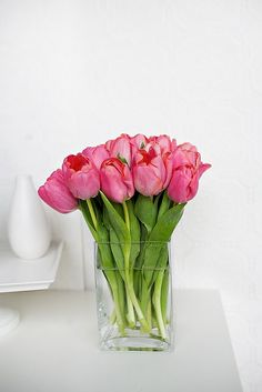 Simple but beautiful pink tulips.