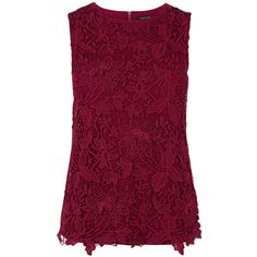 Warehouse Pretty Leaf Lace Shell Top ($33) ❤ liked on Polyvore featuring tops, red, shirts, purple top, red shirt, red sleeveless top, red lace shirt and sleeveless lace top