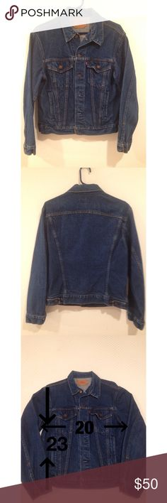 """Authentic Levi's Jean Jacket This is a genuine Levi's jean jacket purchased in 1984. Even though it's 33 years old, it has been worn only a few times. It has no wear, stains, or any other flaws. It has two hand warmer pockets. Size 40 (men's). Measurements: Shoulder seam to cuff 23"""". Underarm seam to underarm seam 20"""". Top of collar to hem 26"""". Levi's Tops Sweatshirts & Hoodies"""