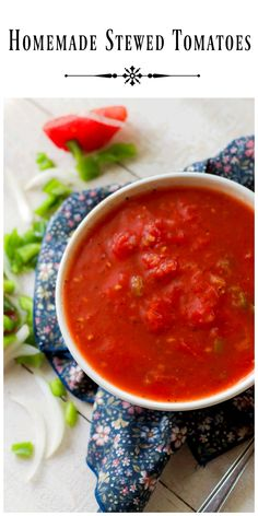 Best Tomato Recipes - Homemade Stewed Tomatoes - made with fresh ripe tomatoes is a delicious side dish all by itself or served alongside homemade macaroni and cheese. Stewed Tomatoes Recipe With Bread, Stewed Tomato Recipes, Fresh Tomato Recipes, Vegetarian Recipes Easy, Vegetable Recipes, Chicken Recipes, Cooking Recipes, Okra Recipes, Delicious Recipes