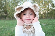 Ok, I wouldn't be able to do this myself but hoping one of my crafty family members or friends would for my sweet girl.....The Kisses Cozy Bear Scoodie  Scarf Cowl Hat Hood by TheKissesCo, $28.00