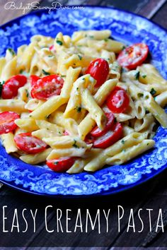 Easy creamy pasta? Use vegetable broth in place of chicken broth? Yep, I'll be trying it soon!