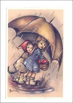 LP90  Mainzer  #8370 Children, enfant, umbrella,   vintage   postcard, Printed in Belgium, Artist signed Bonnie