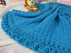 """Anna Mae"" crochet baby blanket pattern at www.SkerinKnittingandCrochet.com"