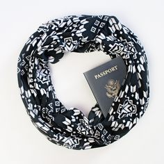 Scarf with hidden pocket for passport and cash ~ Dakota Scarf
