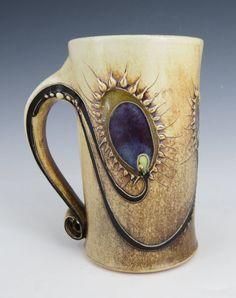 Peacock design mug by CarolLongPottery on Etsy, $65.00